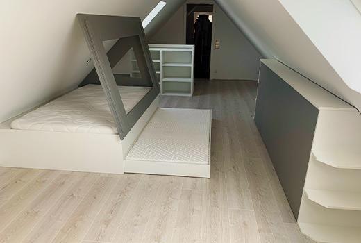 ... der Dachboden weiterhin begehbar bei maximalem Stauraum.
